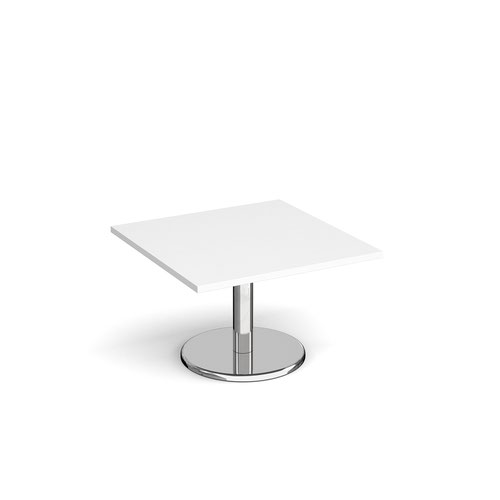 Pisa square coffee table with round chrome base 800mm - white
