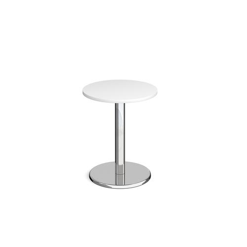 Pisa Circular Dining Table Round Base 600mm White Top PDC600-WH