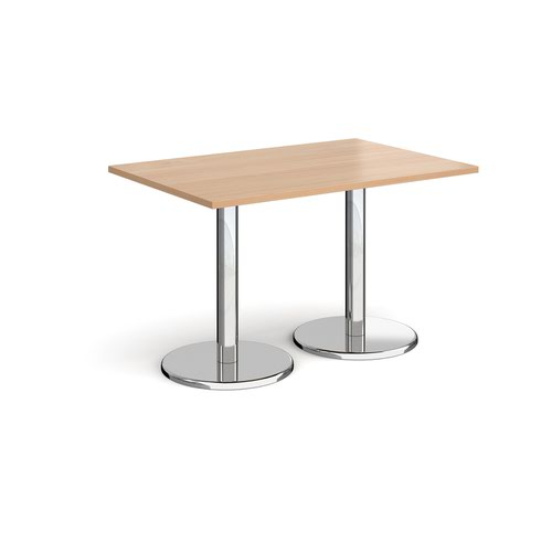 Pisa rectangular dining table with round chrome bases 1200mm x 800mm - beech