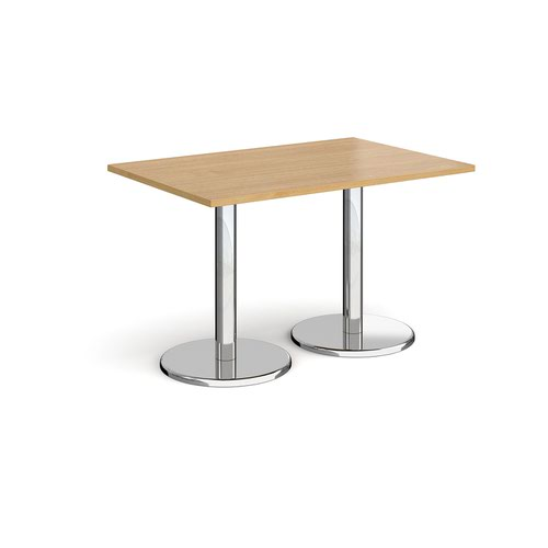 Pisa rectangular dining table with round chrome bases 1200mm x 800mm - oak