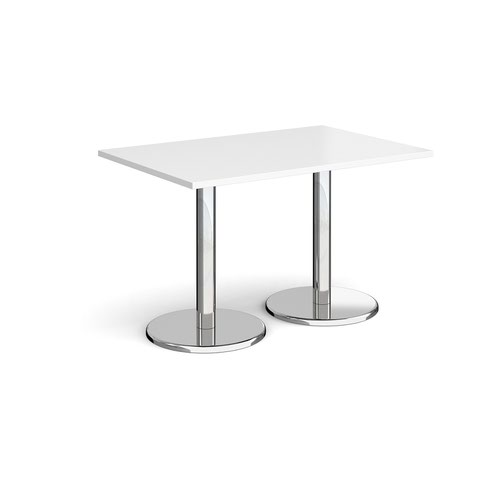 Pisa Rectangular Dining Table Round Base 1200x800mm White Top PDR1200-WH