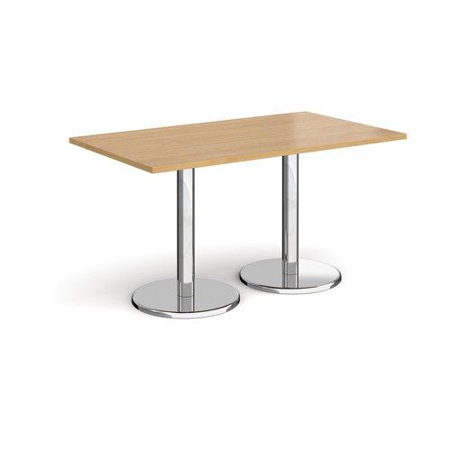 Pisa Rectangular Dining Table Round Base 1400x800mm Oak Top PDR1400-O