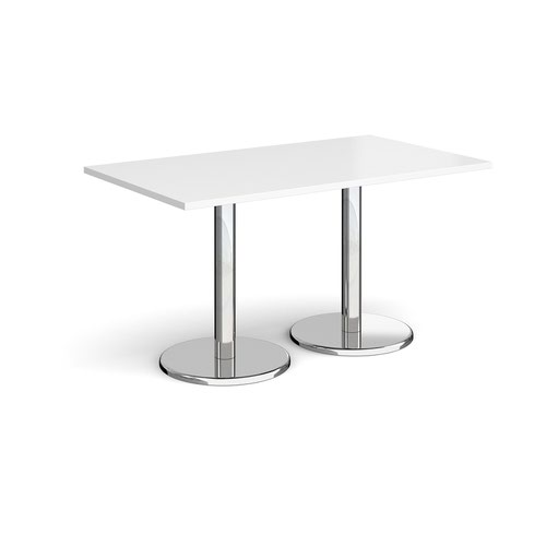 Pisa rectangular dining table with round chrome bases 1400mm x 800mm - white