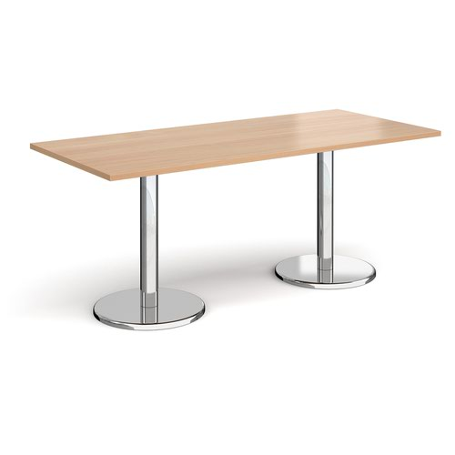 Pisa rectangular dining table with round chrome bases 1800mm x 800mm - beech