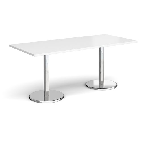 Pisa rectangular dining table with round chrome bases 1800mm x 800mm - white
