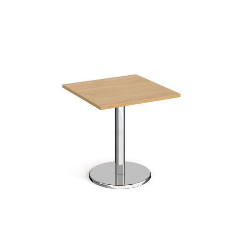 Pisa Square Dining Table Round Base 700mm Oak Top PDS700-O