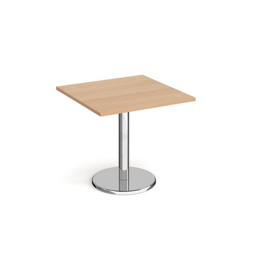 Pisa square dining table with round chrome base 800mm - beech