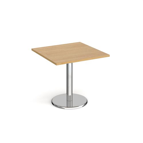 Pisa Square Dining Table Round Base 800mm Oak Top PDS800-O