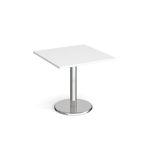 Pisa square dining table with round chrome base 800mm - white