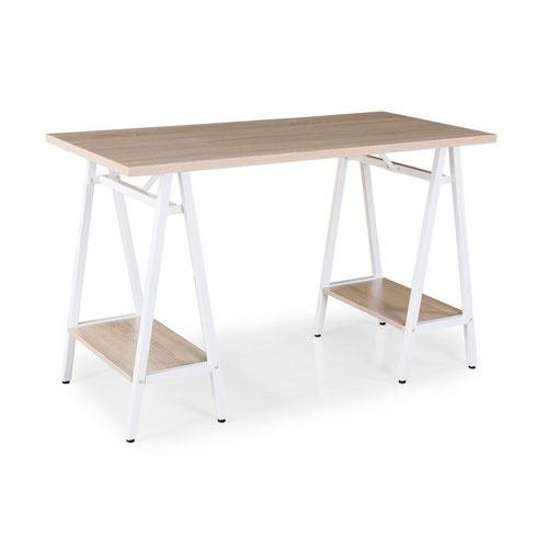 Pella home office workstation with trestle legs – Windsor oak with white frame by Dams International, DES3000