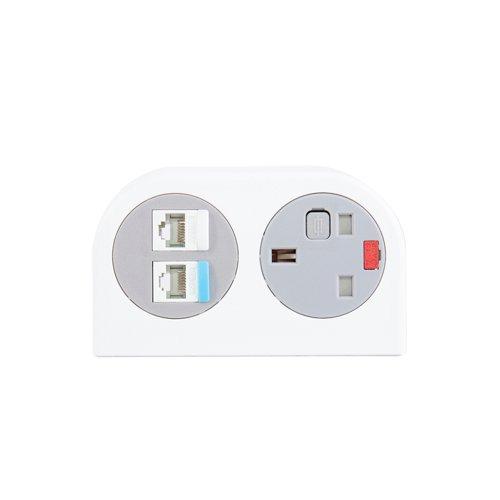 Phase multi-surface power module 1 x UK socket and 2 x RJ45 sockets - white