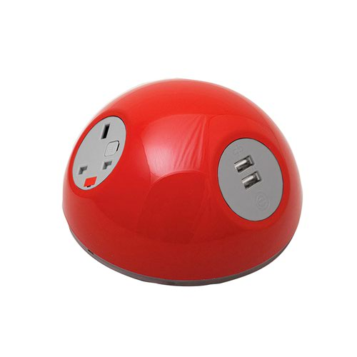 Pluto domed on-surface power module with 1 x UK socket and 1 x TUF (A&C connectors) USB charger - light green