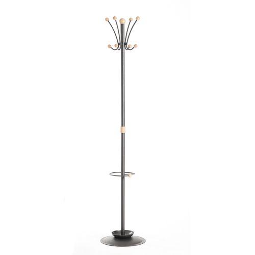 Coat & umbrella stand with 8 coat hooks and 8 umbrella hooks 1780mm high - black and cream