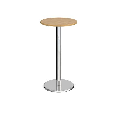 Pisa circular poseur table with round chrome base 600mm - oak