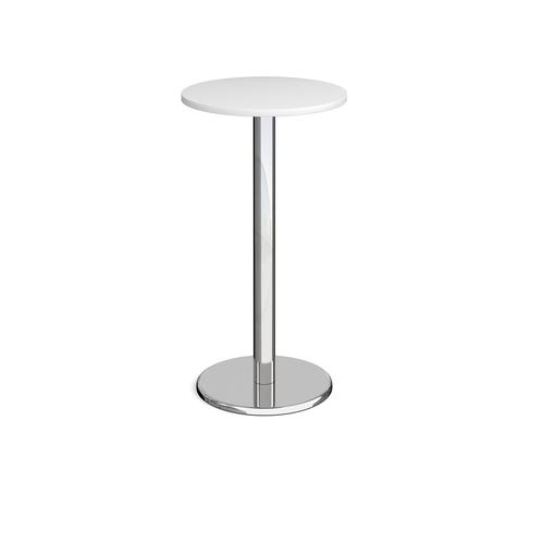 Pisa circular poseur table with round chrome base 600mm - white