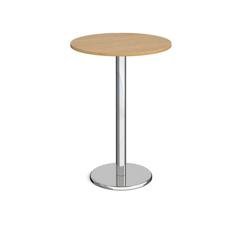 Pisa circular poseur table with round chrome base 800mm - oak
