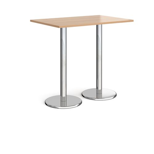 Pisa rectangular poseur table with round chrome bases 1200mm x 800mm - beech