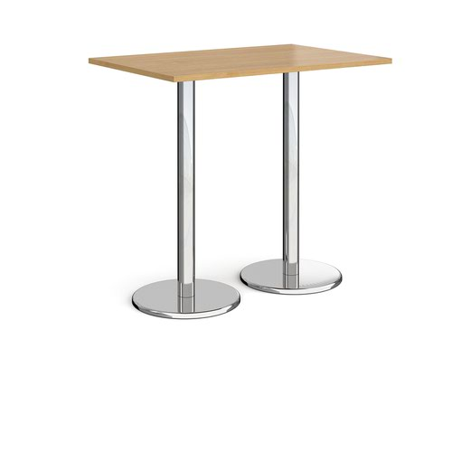 Pisa rectangular poseur table with round chrome bases 1200mm x 800mm - oak