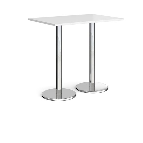 Pisa rectangular poseur table with round chrome bases 1200mm x 800mm - white