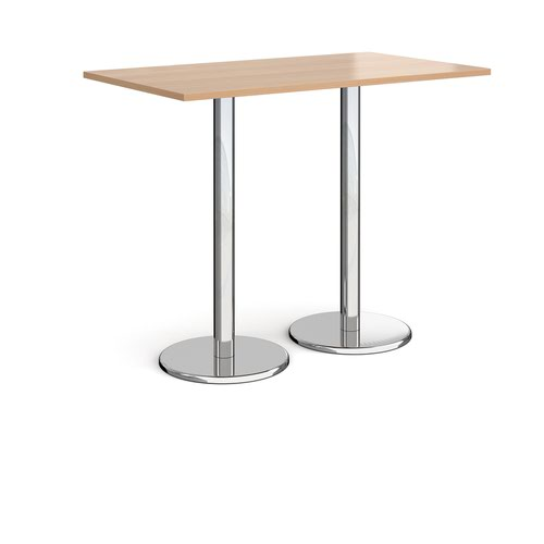 Pisa rectangular poseur table with round chrome bases 1400mm x 800mm - beech