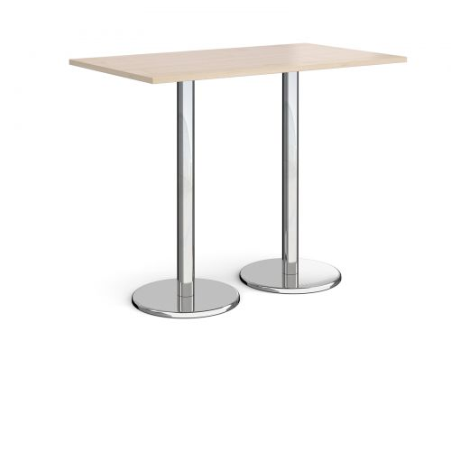 Pisa rectangular poseur table with round chrome bases 1400mm x 800mm - maple