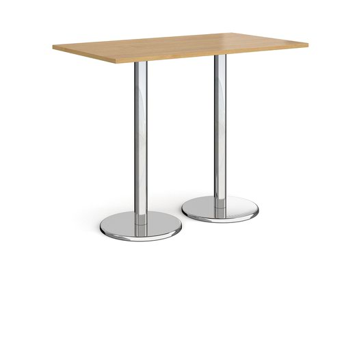 Pisa rectangular poseur table with round chrome bases 1400mm x 800mm - oak