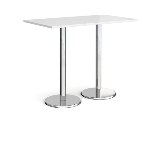 Pisa Rectangular Poseur Table Round Base 1400x800mm White Top PPR1400-WH