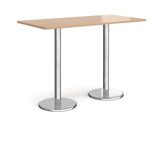Pisa rectangular poseur table with round chrome bases 1600mm x 800mm - beech