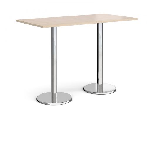 Pisa rectangular poseur table with round chrome bases 1600mm x 800mm - maple