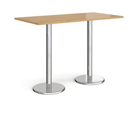 Pisa rectangular poseur table with round chrome bases 1600mm x 800mm - oak