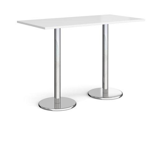 Pisa Rectangular Poseur Table Round Base 1600x800mm White Top PPR1600-WH