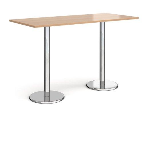 Pisa Rectangular Poseur Table Round Base 1800x800mm Beech Top PPR1800-B