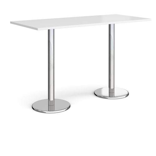 Pisa rectangular poseur table with round chrome bases 1800mm x 800mm - white