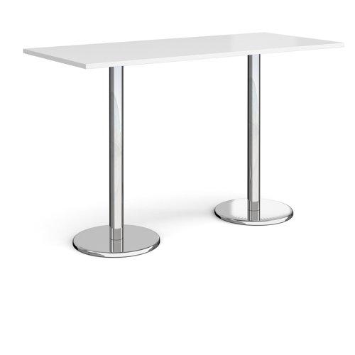 Pisa Rectangular Poseur Table Round Base 1800x800mm White Top PPR1800-WH