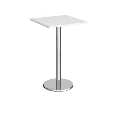 Pisa square poseur table with round chrome base 700mm - white