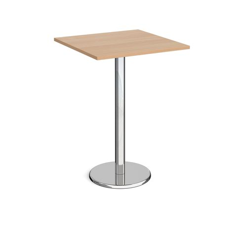 Pisa square poseur table with round chrome base 800mm - beech
