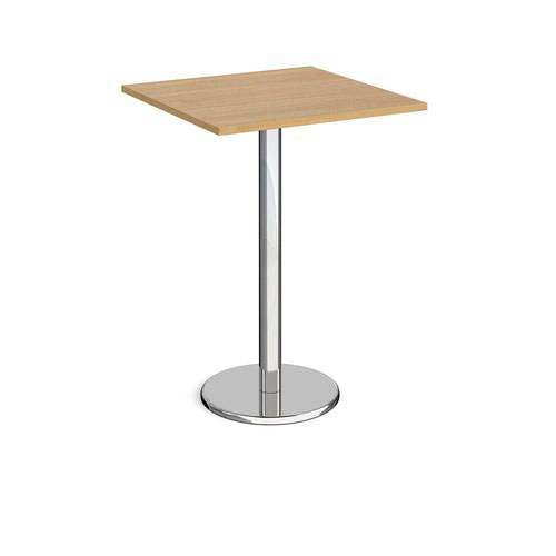 Pisa Square Poseur Table Round Base 800mm Oak Top PPS800-O