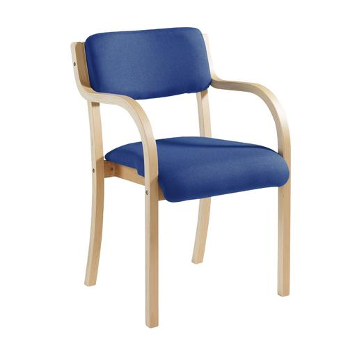 Blue Wooden conference chair with double arms