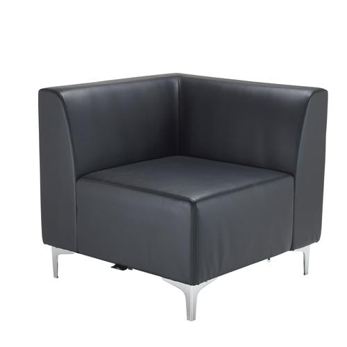 Quatro leather modular reception seating corner unit with backs - black