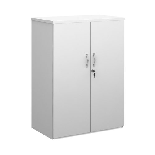 Duo double door cupboard 1090mm high with 2 shelves - white