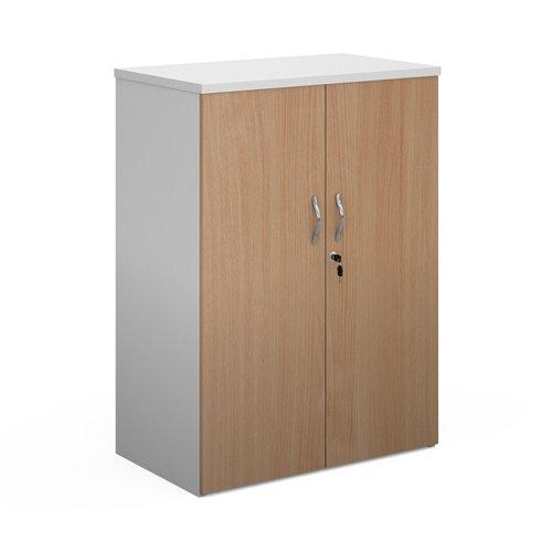 Duo double door cupboard 1090mm high with 2 shelves - white with beech doors