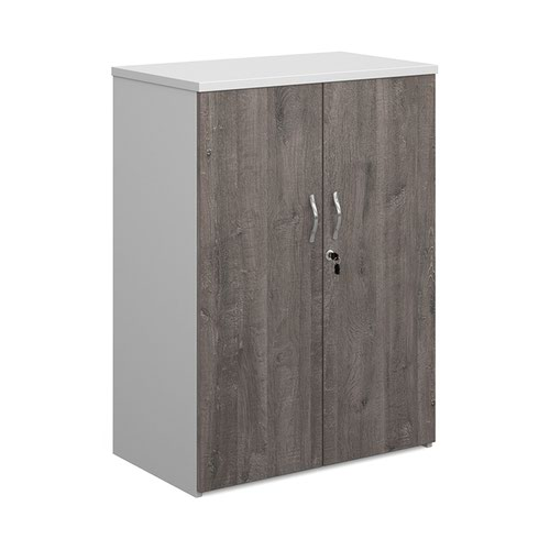 Duo double door cupboard 1090mm high with 2 shelves - white with grey oak doors
