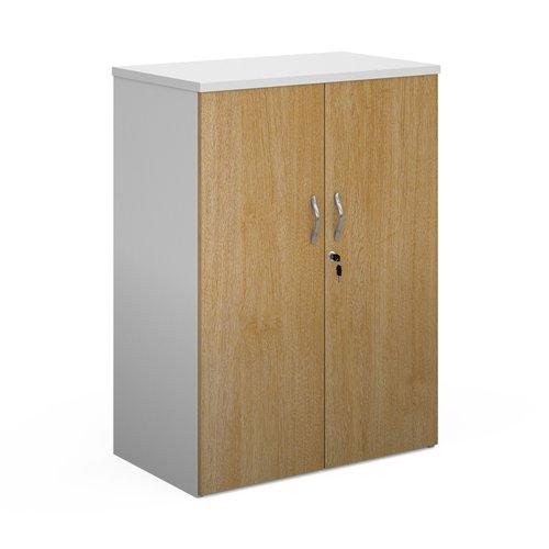Duo double door cupboard 1090mm high with 2 shelves - white with oak doors