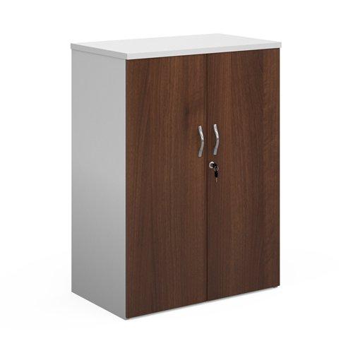 Duo double door cupboard 1090mm high with 2 shelves - white with walnut doors