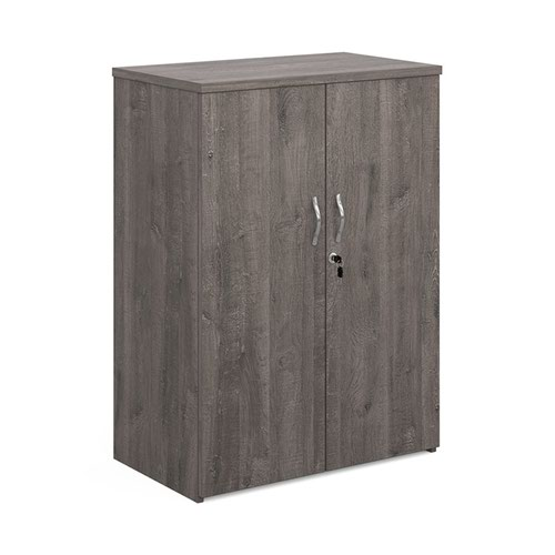 Universal double door cupboard 1090mm high with 2 shelves - grey oak