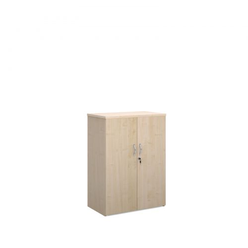 Universal double door cupboard 1090mm high with 2 shelves - maple