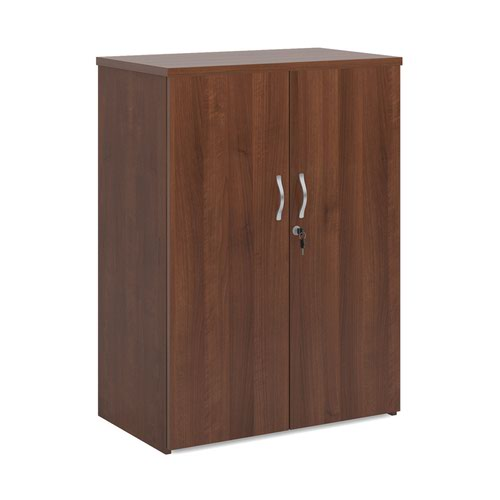 Universal double door cupboard 1090mm high with 2 shelves - walnut