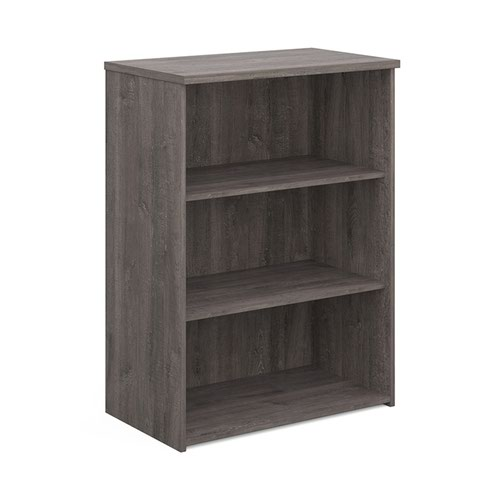 Universal bookcase 1090mm high with 2 shelves - grey oak