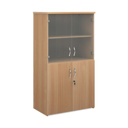 Universal combination unit with glass upper doors 1440mm high with 3 shelves - beech