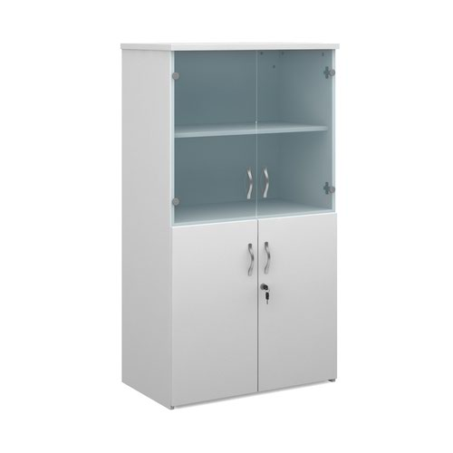 Duo combination unit with glass upper doors 1440mm high with 3 shelves - white Bookcases With Storage R1440COMD-WH